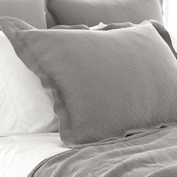 Interlaken Coverlet Sham - Distinctly geometric for a look of traditional stability, the texture of the Interlaken Coverlet Sham looks both to traditional weaving and to Scandinavian design to inspire its simple pattern, which is subtly graphic and directional, yet so engaging in a bedroom design.  A distinct flange around the edge enhances this envelope-style pillow sham's look of customized comfort on the bed.