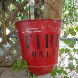 Antique Painted Red Fire Bucket by Lath and Plaster - It's time to retire by the fire. This antique bucket reminds everyone safety first.