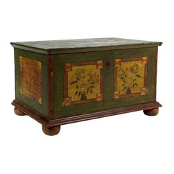 Green Wooden Trunk Decorated With Floral Motif - A gorgeous painted chest on ball feet. This is a vintage piece with tons of character. We'd love this at the end of a bed or as a coffee table. With storage to boot!