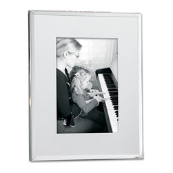 Lawrence Frames - Silver Plated Matted 8x10 Picture Frame - Elegant and simple silver plated frame with bevel cut mat.  This silver plated and lacquer coated frame has a high polished finish.  High quality black velvet backing with an easel for vertical or horizontal table top display, and hangers for vertical or horizontal wall mounting.    Heavy weight 8x10 metal picture frame is made with exceptional workmanship and comes individually boxed.