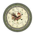 """Tyler - Le French Rooster Clock, Green Rim, 30"""" - Made In USA-Made When Ordered"""