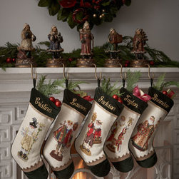 "Peking Handicraft - Peking Handicraft Napoleon Bee Santa Needlepoint Stocking, Monogrammed - Exclusively ours. Hand-stitched needlepoint stockings feature some of our favorite Santas and your monogram. Pure wool with rayon trim. 11""W x 18""L. Personalization is name (up to seven characters/spaces) in style and color shown. Dry clean. Im..."