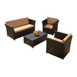 Great Deal Furniture - Kona 4pcs Outdoor Wicker Sofa Set - This Kona set is made of durable and soft wicker, the must-have material for outdoor and poolside furniture. Our wicker is carefully crafted, comes in a organic brown color, and can handle practically anything that mother nature throws at it. The exact shades of each individual piece of wicker slightly vary, resulting in a textured display that gives each piece a stylish uniqueness, in that no two chairs are alike. The set includes two chairs and a love seat for spacious, comfortable seating for up to four adults. All cushions are made out of Sunbrella fabric, a durable and weather resistant material for long term use.