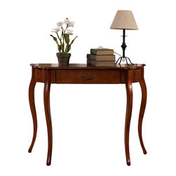 All Things Cedar - Curved Console Table - Classic Accents with Birch Veneer : Cherry Finish : Solid Wood Legs : Curved Console Table, Dimensions: 41w x 14d x 32h (knockdown)