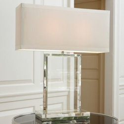 Global Views - Crystal Slab Table Lamp by Global Views - Crystal clear lighting. The Global Views Crystal Slab Table Lamp has nothing to hide, and really couldn't if it wanted to. Anchored by an exquisitely chiseled chunk of transparent crystal glass and outlined in a gleaming frame (and base) of Polished Nickel, Slab's inherent sparkle is sophisticatedly offset with a rectangular Ivory silk shade that geometrically opposes the verticality of the base. From ornamental period pieces to deco decorativeness to ethno-informed artisanal discoveries, Global Views offers a consistently updated mix of styles that are alternately elegant, exotic, refined and casual. Along with partners Studio A and DwellStudio, the collective offers stylish objects imbued with a global perspective that can accommodate a spectrum of design sensibilities. Call it Global Chic.