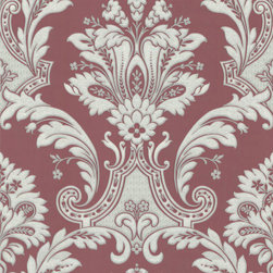 Red Textured Damask Wallpaper - Give your walls a traditional look with a modern flare with wallpaper from the Regent Collection by Brewster.