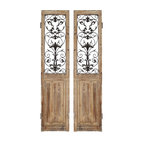 Paragon Decor - Rustic Doors Set of 2 - Carved Wood with Metal - Wall Sculpture