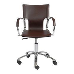 Euro Style - Vinnie Office Chair - Brown Leather/Chrome - It's too perfect to call 'basic'.  But the clean, simple lines and smooth leather seat, back and armrests say a lot about your office.  Straightforward.  No nonsense.  And undeniably fashion forward.