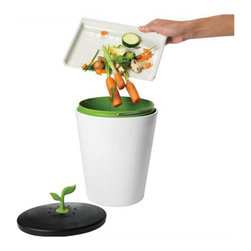 EcoCrock Compost Bin - Introducing the coolest way to compost. This compost bin is meant to be placed on the countertop, staying clean and stylish while storing leftover food scraps for composting. With the EcoCrock™compost bin, doing whats good for outside will make inside look good too.