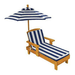 Kids' Outdoor Chaise and Umbrella - Kidlets need to be able to stretch out and relax too! This outdoor chaise with a matching umbrella will allow for sophisticated relaxation.