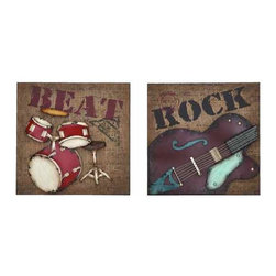 UMA - Classic Rock Music Wall Plaques - Two individual wall plaques feature classic rock styling of a drum kit and electric guitar