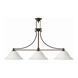 Hinkley Lighting - Hinkley Lighting 4666OB-OPAL Bolla 3 Light Chandeliers in Olde Bronze - The graceful lines of Bollas sweeping double arms create a soft elegance, while heavy cast spheres perched at the tips add to its innovative style. The strong proportions of the arms  contrast with the subtle bell shaped glass, combining both traditional and modern details.