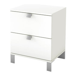 South Shore - South Shore Affinato Nightstand in Pure White Finish - South Shore - Nightstands - 3260060 - With its pure white finish and sleek clean lines the spacious South Shore Affinato Nightstand will enhance any kids bedroom. Fitted with elegant angled metal handles and front metal legs this superb nightstand offers two practical drawers for keeping your kid's nighttime necessities within arms reach. Distinctly contemporary in style the Affinato Nightstand is sure to fit comfortably along side your kid's bed.With contemporary design elements the Affinato Collection by South Shore is sure to offer your kid a lasting appeal. This collection of kids bedroom furniture features clean lines metallic finished legs and sloped drawer handles for a distinct look. Create the perfect environment for your kid with the South Shore Affinato Collection.Features: