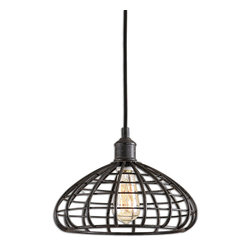 Espalier Pendant - Cool, industrial, and transitional, the Espalier Pendant boasts a unique form that lends itself to a variety of settings: a sleek urban loft, a reimagined farmhouse, a countryside summerhouse. The open lattice style allows for an airy presentation of the antique style bulb at the center. A textured black finish with a rust wash adds depth and dimension to the piece.