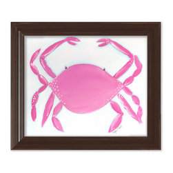 "Doodlefish - Caitlin the Crab in Brown Frame - 15""x18"" Framed Giclee that features an adorable crab in a great shade of pink on a blue washed background. Artwork is available in various frame choices."
