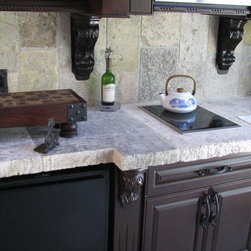 Countertops out of Thick Mediterranean Antique Limestone Slabs - Image provided by 'Ancient Surfaces'