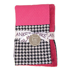 Trend Lab - Trend Lab Serena Crib Bedding Collection - Receiving Blanket - Keep your little one warm and secure with this Serena Multi-Patched Blanket t by Trend Lab. Patches of fun printed cotton are displayed on the front with cuddly fuchsia pink micro plush on the back. Blanket patches include a fashionable black and white oversized hounds tooth print; a gray based floral print; a charming fuchsia pink and white mini dot print; a black and white dot print; and solid black. Blanket measures 32 in x 40 in.
