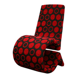 Baxton Studio - Baxton Studio Forte Red and Black Patterned Fabric Accent Chair - For a touch of unmistakable contemporary design and comfort in a living room or lounge, the Forte Chair brings all that and more.  It features a woven fabric with an eye-catching red circle pattern on a black base.   What truly sets this chair apart from the rest is its unique shape: with no discernible legs and a circular base, the rounded shape is ergonomic.  Sturdiness is a priority with the steel frame, and the chair is padded with high density foam for added comfort.  Small plastic non-marking feet stabilize the chair, which will arrive fully assembled.