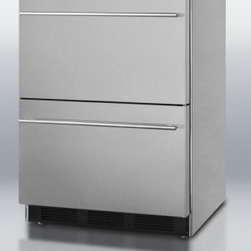 """Summit - SP6DS-2D-ADA 24"""" 5.4 cu.ft. Freestanding Refrigerator with 2 Drawers  Rapid Chil - Modern design and advanced technology makes the SP6DS series the perfect combination of elegance and reliability in refrigeration With the two-drawer SP6DS2DADA SUMMIT combines durability and modern style in a unique under-counter unit that39s truly ..."""