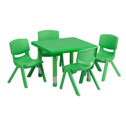"Flash Furniture - 24"" Adjustable Green Plastic Activity Table Set with 4 School Stack Chairs - This table set is excellent for early childhood development. Primary colors make learning and play time exciting when several colors are arranged in the classroom. The durable table features a plastic top with steel welding underneath along with height adjustable legs. The chair has been properly designed to fit young children to develop proper sitting habits that will last a lifetime."