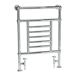 "Hudson Reed - Traditional Bathroom Hydronic Towel Warmer Radiator Rail 26"" x 37"" & Valves - Traditional Heated Towel Radiator manufactured from quality Chrome Plated 1.3 inch brass tubing for a true period look. Ideal for use in the bathroom, kitchen cloakrooms etc."