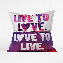 Live it, Love it Throw Pillow Cover - All you need is love, plus maybe a bold and brilliantly purple pillow to make your space really pop. What better way than the Live It, Love It Throw Pillow Cover. Custom-made from woven polyster, this pillow cover is a simple way to add a bit of bold personality to your space. Print is on both sides and zipper is hidden for increased comfort.