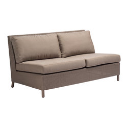 Plateau Sectional Double (Armless) BB-22-DFW - Creating comfortable spaces: the Plateau Sectional double seat is generously deep and wide, with a low, contemporary profile. Fits with the sectional corner and slipper to create any number of configurations; metal clamps underneath ensure a secure fit. Crafted with durable woven resin in a neutral grey basketweave pattern hand wrapped over a sturdy powder-coated aluminum frame. Removable cushions feature residential material and construction wrapped in a waterproof and mold-resistant casing, creating the same level of comfort as indoor furniture. Driftwood finish.  Standard Natte Heather Grey or Sailcloth Shell fabrics for immediate delivery. Available C.O.M.