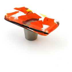 "Windborne Studios - Confetti Glass Knobs and Pulls, Orange, 1"" X 2"" - The colorful Confetti Collection is uniquely playful using shards of thin glass randomly placed to create a multi dimensional illusion."