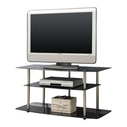 Convenience Concepts - Convenience Concepts Classic Glass Black Glass TV Stand X-130751 - Designs2Go&trade: Classic Black Glass TV Stand is the perfect complement to any living room d&#233:cor. Featuring an open modern design that allows for easy cable management and 3 black tempered glass shelves that will give you plenty of room for all of your media components.  Surely will provide years of enjoyment