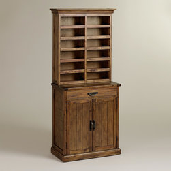 World Market - Wine Storage Hutch - Crafted of acacia wood in a distressed brown finish, our exclusive Wine Storage Hutch is a serious storage solution for all of your precious vintages. It stores up to 24 bottles lengthwise so you can show off your favorite labels. Stow glasses in the cabinet with two adjustable shelves and keep your wine key and accessories tucked away in the drawer. Handy surface space brings it all together for simple and sophisticated serving.