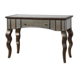 Uttermost - Almont Mirrored Console Table - Invite glamour home! A scalloped front, beveled mirror tiles in silver and champagne undertones and curvy bronze cabriolet legs come together to create this eye-catching console table. A pull out drawer makes it as functional as it is fabulous.
