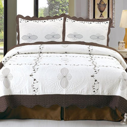Lavish Home - Lavish Home Athena Embroidered Quilt Set Multicolor - 66-10008-T - Shop for Bedding Sets from Hayneedle.com! Like fresh cream the Lavish Home Athena Embroidered Quilt Set adds luxury to your bedroom. This quilted set includes an embroidered diamond pattern for detail. It's made of soft polyester with a needle-pouched cotton backing and polyester microfiber fill. The quilt set comes with one matching pillowcase for the twin size and two for all other sizes.Dimensions:Twin: 65 x 86 in.Full / Queen: 86 x 86 in.King: 102 x 86 in.About Trademark Global Inc.Located in Lorain Ohio Trademark Global offers a vast selection of items for your home and lifestyle. Whether you need automotive products collectibles electronics general merchandise home and garden items home decor housewares outdoor supplies sporting goods tools or toys Trademark Global has it at a price you can afford. Decor items and so much more are the hallmark of this company.