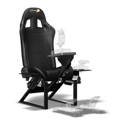 Playseat - Flight Seat - Dynamic fighter plane cockpit style design. Removable seat back and patented foldable system in back of seat. Authentic seat, seat chassis and side controller support. High quality vinyl upholstered seat has leather look and feel. Black colour patches and grommets. Double stitched. High profile side bolsters with ultra high-density foam. Playseats logo in headrest and on side panels. Flight simulator seat perfect for holding flight gaming peripherals. Extra strong, lightweight, powder coated tubular steel frame with high-tension spring and wire system. Simple adjustment of equipment according to preferred flying position. Chassis with anodized aluminum side construction for fully adjustable side support of flight stick and throttle. Center support can also be attached for center mount of flight stick or yoke. The fingertip controlled reclining mechanism allows seat back to be adjusted to most comfortable flight position. Ages 14+. 52 in. L x 38.6 in. W x 19.7 in. H (53 lbs.). Assembly InstructionThe sky is the limit. Fasten your seatbelts and buckle your flight helmets, introducing the Flightseat. Developed in cooperation with professional pilots and flight sim enthusiasts alike, the FlightSeat will take gamers to new heights. Featuring a dynamic fighter plane, this aggressive yet sophisticated playseat will enhance the sim-flight experience like never before. Playseats reclining technology allows with just the lift of the lever, the seat back to be immediately returned to the full upright position. Both side support plates are horizontally and vertically adjustable, which enable the pilot to adjust the equipment according to preferred flying position. Center flight stick or yoke support: New patented fully adjustable steering support with aluminum quick release handle for easy adjustment of height and length, universal flight stick or yoke platform for almost all wheels in the market. New designed extra strong, powder coated triangle tubing