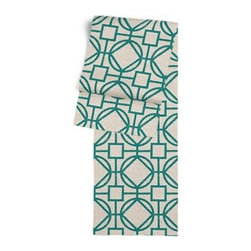 Teal & Natural Modern Trellis Custom Table Runner - Get ready to dine in style with your new Simple Table Runner. With clean rolled edges and hundreds of fabrics to choose from, it's the perfect centerpiece to the well set table. We love it in this teal geometric trellis on thick natural cotton. A bold statement of modern meets rustic.