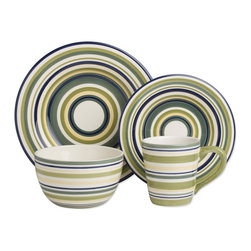Tag Everyday - Sonoma Stripe Dinnerware Collection - Set of - Made of ironstone. All pieces are hand painted with distressed strokes. Microwave and dishwasher safe. Mix and match colors. Set includes 4 each of dinner plate, salad plate, cereal bowl and mug. Color: Celadon Stripe. Dinner plate: 11 in. Dia.. Salad plate: 8.25 in. Dia.. Cereal bowl: 3.25 in. H x 6 in. Dia.. Mug: 4.25 in. H x 4 in. dia (14 oz. capacity)