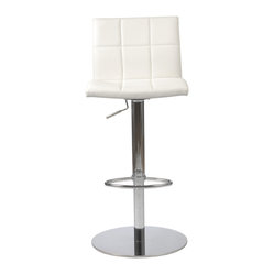 Cyd Bar/Counter Stool-Wht/Chrm - The backrest's block pattern of this adjustable stool is so attractive, why wouldn't you duplicate it on the seating area? The clean design of the chair is only accentuated by the gleaming column, footrest and base.