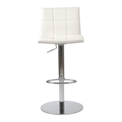 Eurostyle - Cyd Bar/Counter Stool, White/Chrome - The backrest's block pattern of this adjustable stool is so attractive, why wouldn't you duplicate it on the seating area? The clean design of the chair is only accentuated by the gleaming column, footrest and base.
