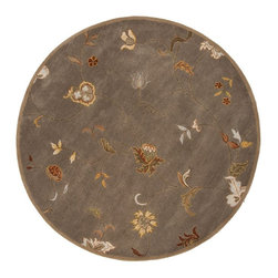 Jaipur Rugs - Jaipur Rugs Hand-Tufted Floral Pattern Wool Taupe/Red Round Area Rug, 6 x 6ft - The Poeme Collection takes traditional designs and re-invents them in a palette of modern, highly livable colors. Each design is made from premiere hand-spun wool and crafted with precision for the look and feel of a hand-knotted rug, at the more affordable cost of a hand-tufted. Poeme will effortlessly coordinate individual design elements to finish any room.