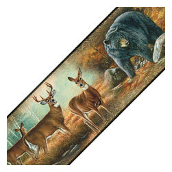 York Wallcoverings - Great Outdoors Animals Deer Self Stick Accent Wall Border - Features: