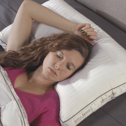 National Sleep Products - Max Support 300 Thread Count Back Sleeper Pillows (Set of 2) - This specially designed pillow provides luxurious comfort and support for back sleeping positions.  These pillows feature a soft,300 thread count fabric filled with a microgel polyester fiber that mimics down.