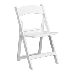 Flash Furniture - Flash Furniture Hercules Series 1000 lb. Capacity White Resin Folding Chair - This Hercules Series folding chair features a 1000 lb. Weight capacity so that you can be assured that it will accommodate any function. From indoor or outdoor weddings to other upscale events, this resin folding chair will never let you down. Flash Furniture's elegant white folding chair will provide an excellent solution for all your event planning needs. [LE-L-1-WH-SLAT-GG]