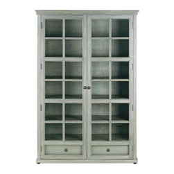 Currey & Company - Marion Library Cabinet - Washed wood in a Vintage Gray finish makes the Marion cabinet a noteworthy addition to home or office. For everyday care, dust with a clean dry cloth.