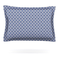 "Kess InHouse - Carolyn Greifeld ""Bohemian Blues II"" Blue Geometric Pillow Sham (Woven, 30"" x 20 - Pairing your already chic duvet cover with playful pillow shams is the perfect way to tie your bedroom together. There are endless possibilities to feed your artistic palette with these imaginative pillow shams. It will looks so elegant you won't want ruin the masterpiece you have created when you go to bed. Not only are these pillow shams nice to look at they are also made from a high quality cotton blend. They are so soft that they will elevate your sleep up to level that is beyond Cloud 9. We always print our goods with the highest quality printing process in order to maintain the integrity of the art that you are adeptly displaying. This means that you won't have to worry about your art fading or your sham loosing it's freshness."