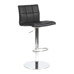 Eurostyle - Eurostyle Cyd Adjustable Height Bar/ Counter Stool in Black - Adjustable Height Bar/ Counter Stool in Black belongs to Cyd Collection by Eurostyle If it had arms it would be a throne. The full seat and back offer delicious comfort. The squared off seams help keep the shape firm and tidy. This is a chair fit for a king, or just someone who'd like a beer after work and feel like a king. Bar/ Counter Stool (1)