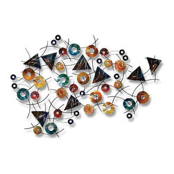 Home Decorators Collection - Luminous Contemporary Wall Sculpture - Multiple colors including blue, red and yellow combine to create our eye-catching wall art. Perfect for those who love contemporary design, this wall sculpture is full of clean lines and geometric shapes like circles and triangles. Hang anywhere in your home to enhance your space. Made of steel. Geometric shapes give it a contemporary feel.