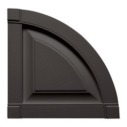 """Builders Edge - Raised Panel Design Quarter Round Tops in Tux - Provides distinctive styling for standard shutters. Constructed with color molded-through vinyl so they will not scratch, flake, or fade. Durable, maintenance-free U.V. stabilized, deep wood grain texture. Made in the USA. For use with Builders Edge 15"""" Standard Raised Panel Shutters only. 14.75 in. W x 1 in. D x 14.75 in. H (1.69 lbs.)"""