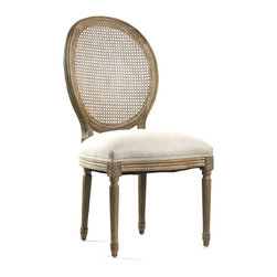 Medallion Side Chair - Limed Grey Oak with Natural Linen - Create beautifully symmetrical displays or intimate little corners with ease when you add the Medallion Side Chair to your seating.  A sturdy current production which draws on the neo-Classical details of graceful old-world furniture, the upholstered accent chair has a tailored seat and a handsome cameo back with supports that form a sleek continuous line into fluted rear legs.