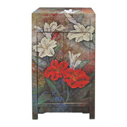 Golden Lotus - Oil Paint Canvas Art Narrow Wooden Cabinet - Oil painting on canvas and placed on the surface of the cabinet.
