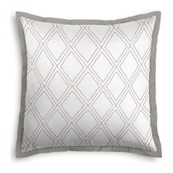 Gray Stitched Diamond Trellis Custom Euro Sham - Popped collars, statement necklaces, crisply ironed pants ��� it�۪s the little details that complete a perfectly tailored look. And the sharp contemporary edging of the Tailored Euro Sham will do just that for your bed.  We love it in this subtle gray and white embroidered trellis is as beautiful and classic as a perfectly diamond.