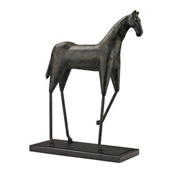 Lazy Susan - Lazy Susan 148029 Stilted Horse Sculpture - Stilted horse sculpture formed from cast iron and metal and finished in a bronze finish, the legs give a modern twist to a traditional equestrian design.